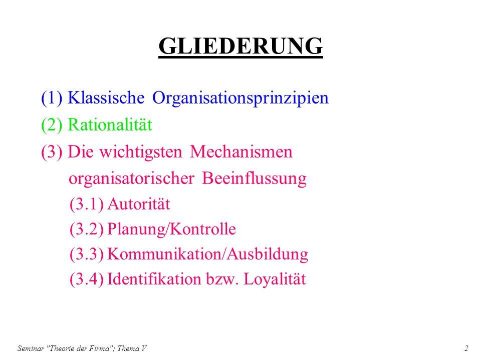 Seminar Theorie der Firma ; Thema V