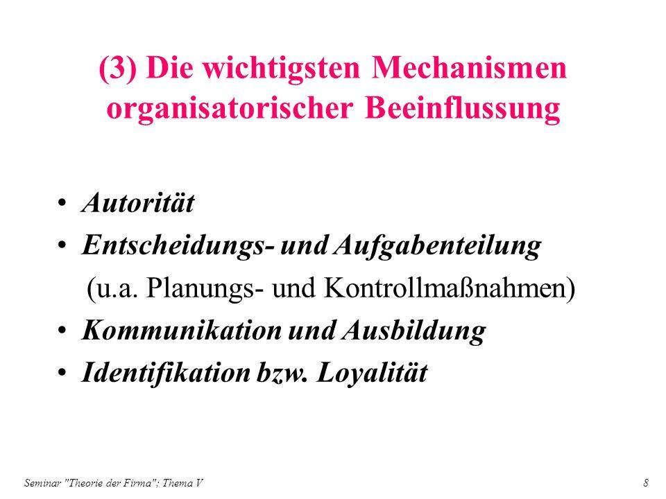 (3) Die wichtigsten Mechanismen organisatorischer Beeinflussung
