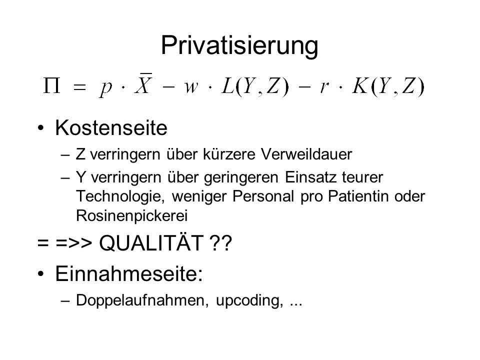 Privatisierung Kostenseite = =>> QUALITÄT Einnahmeseite: