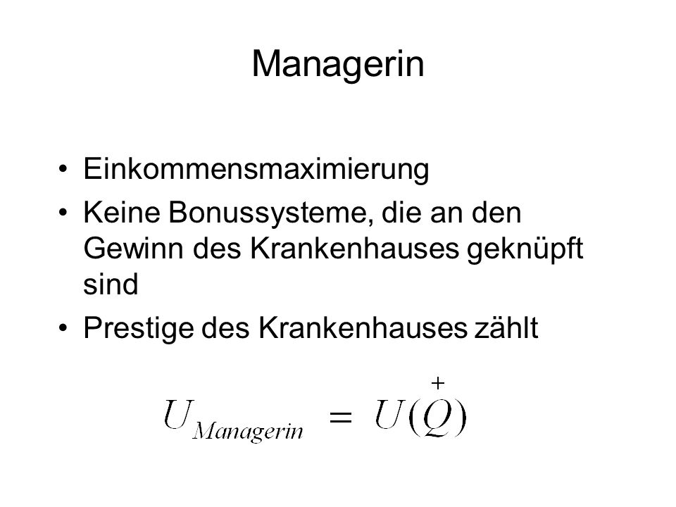 Managerin Einkommensmaximierung
