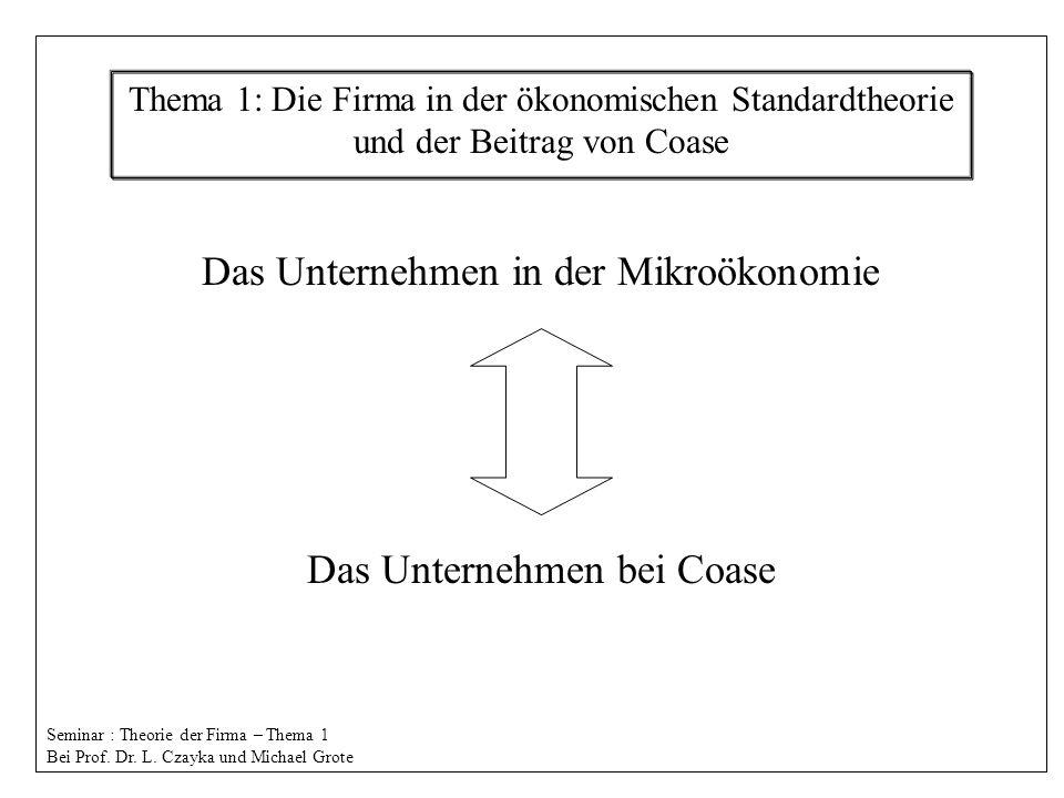 Das Unternehmen in der Mikroökonomie