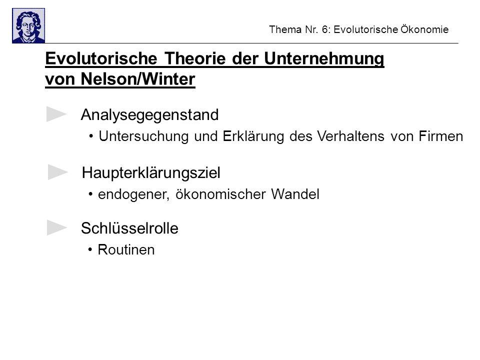 Evolutorische Theorie der Unternehmung von Nelson/Winter