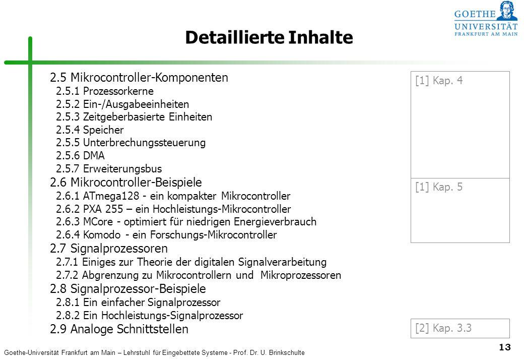 Detaillierte Inhalte 2.5 Mikrocontroller-Komponenten