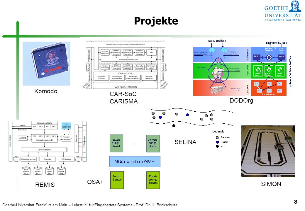 Projekte Komodo CAR-SoC CARISMA DODOrg SELINA OSA+ REMIS SIMON