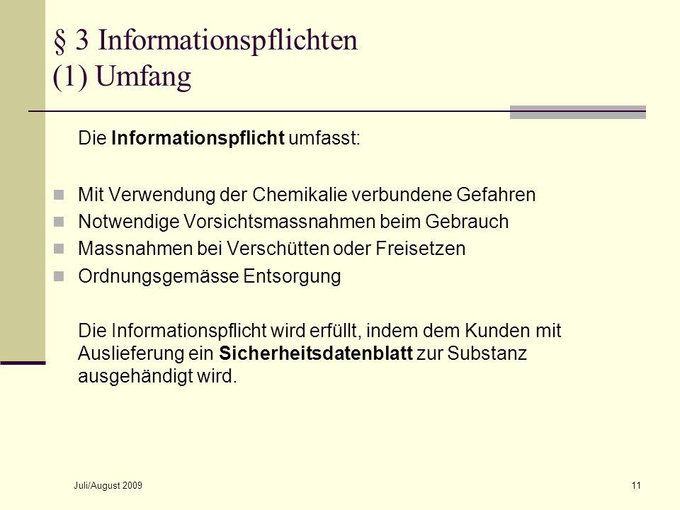 § 3 Informationspflichten (1) Umfang