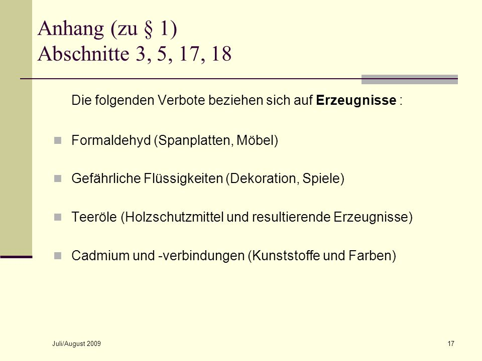 Anhang (zu § 1) Abschnitte 3, 5, 17, 18