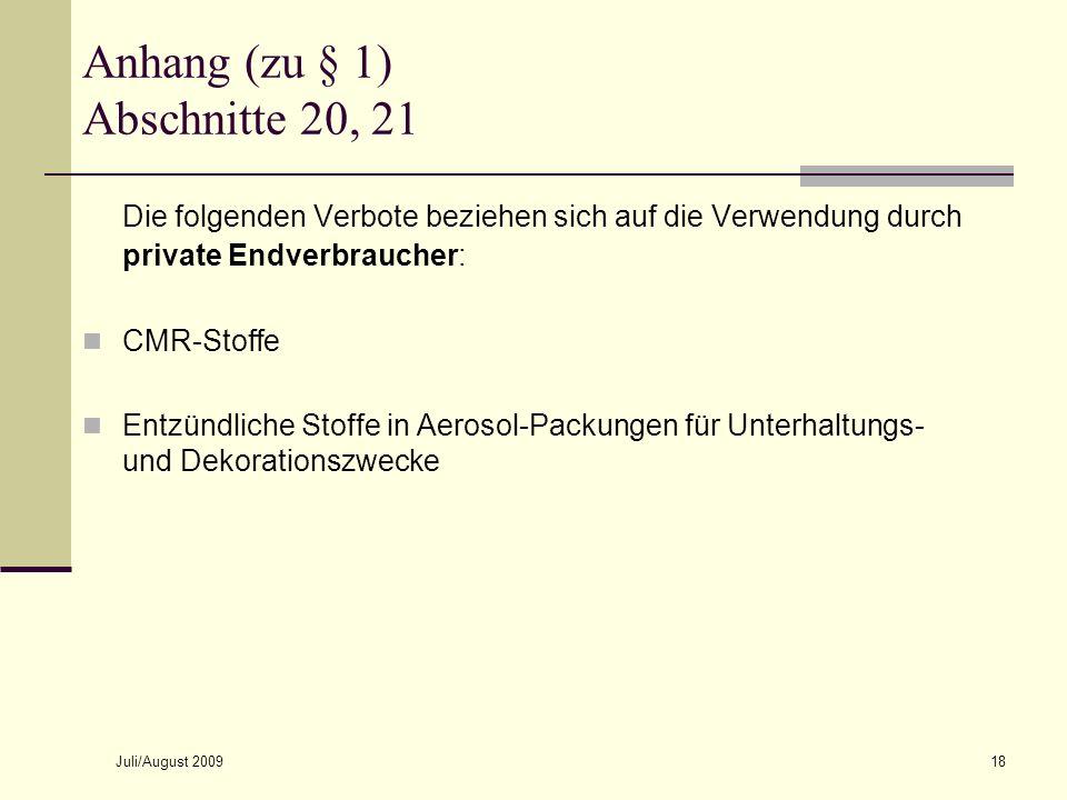 Anhang (zu § 1) Abschnitte 20, 21