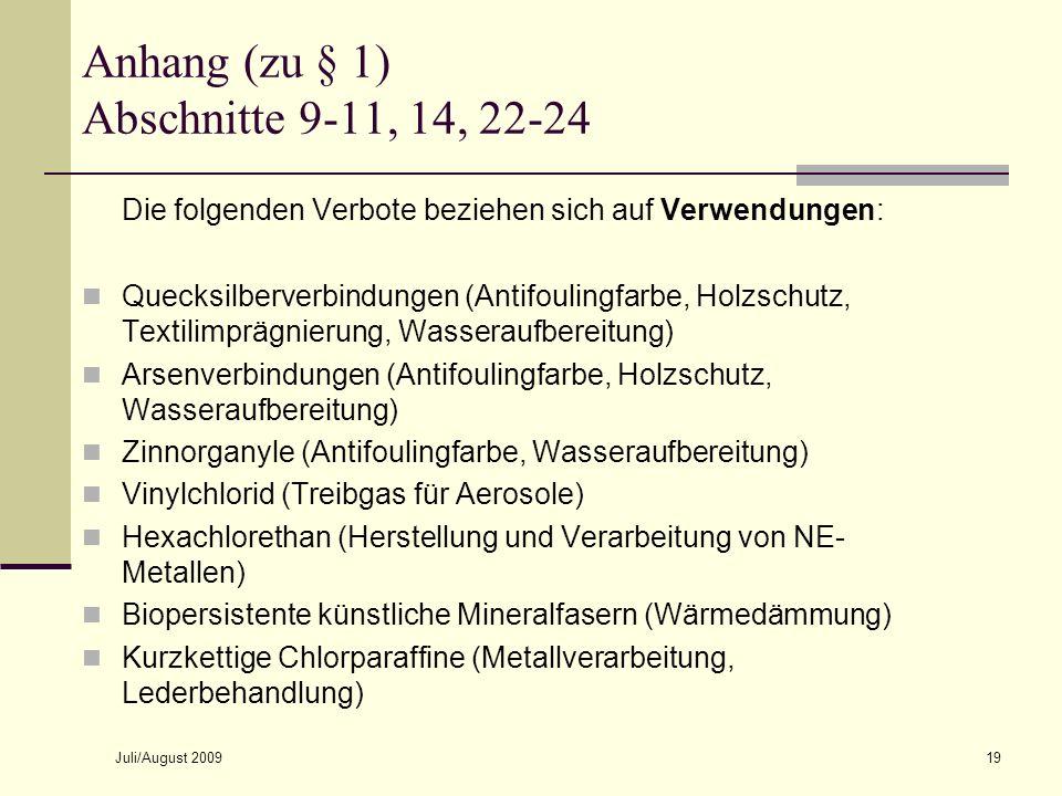 Anhang (zu § 1) Abschnitte 9-11, 14, 22-24