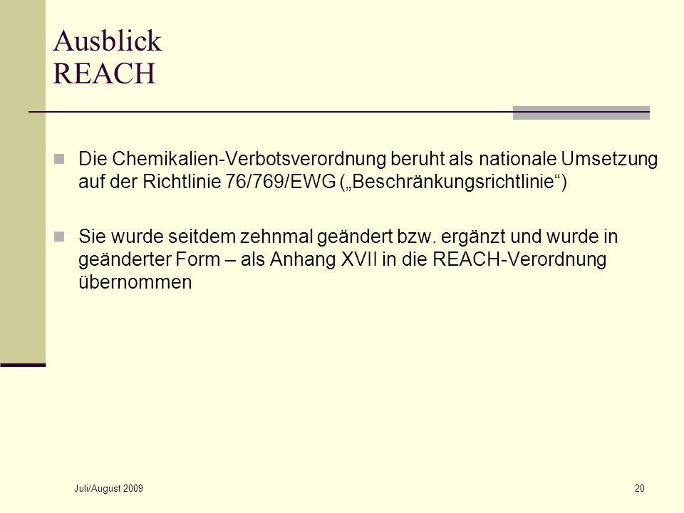 Ausblick REACHOctober 8, 2007.
