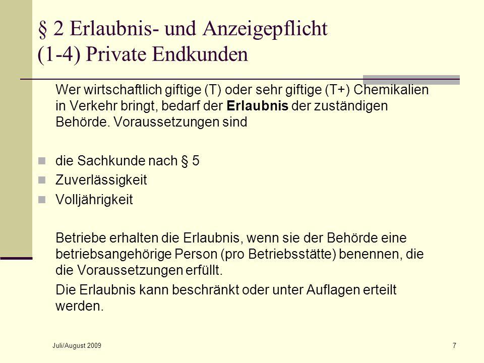 § 2 Erlaubnis- und Anzeigepflicht (1-4) Private Endkunden