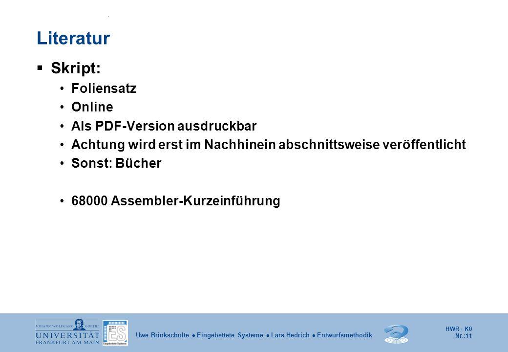 Literatur Skript: Foliensatz Online Als PDF-Version ausdruckbar