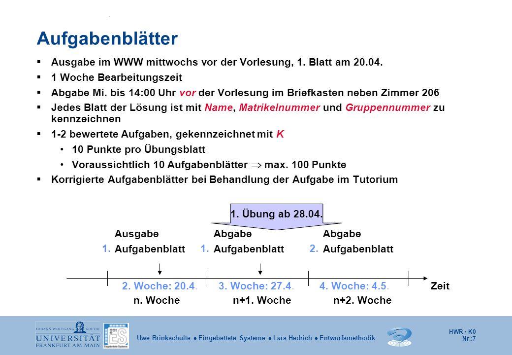 Aufgabenblätter Ausgabe im WWW mittwochs vor der Vorlesung, 1. Blatt am 20.04. 1 Woche Bearbeitungszeit.