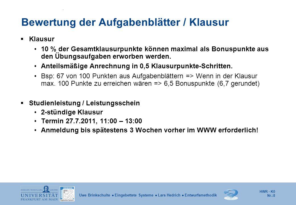 Bewertung der Aufgabenblätter / Klausur