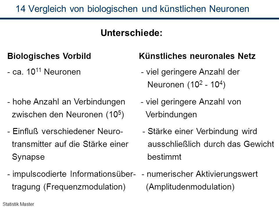 Vergleich von biologischen und künstlichen Neuronen