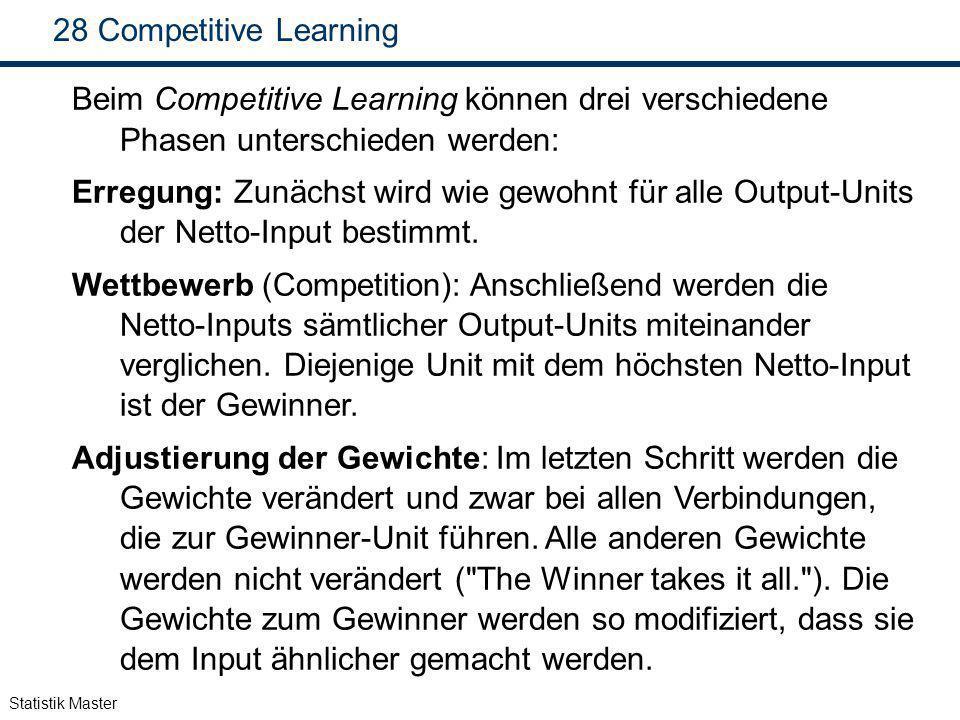 Competitive Learning Beim Competitive Learning können drei verschiedene Phasen unterschieden werden: