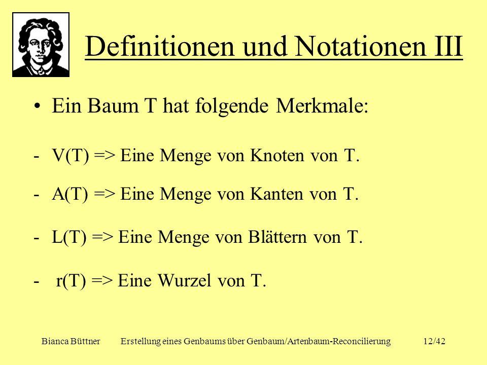 Definitionen und Notationen III