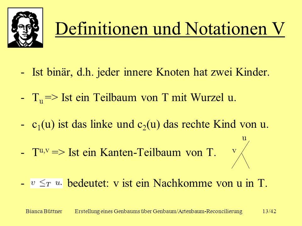 Definitionen und Notationen V