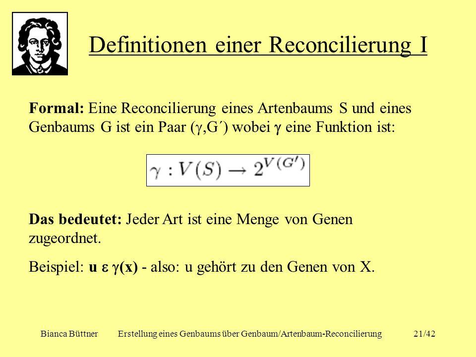 Definitionen einer Reconcilierung I
