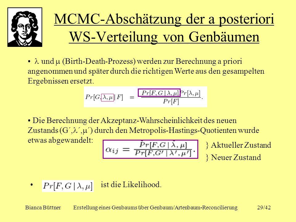 MCMC-Abschätzung der a posteriori WS-Verteilung von Genbäumen