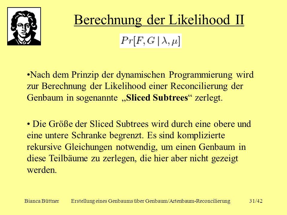 Berechnung der Likelihood II