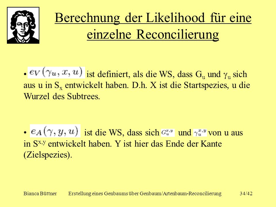 Berechnung der Likelihood für eine einzelne Reconcilierung