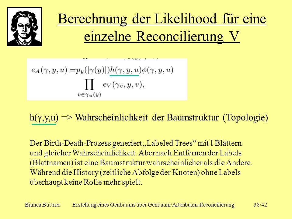 Berechnung der Likelihood für eine einzelne Reconcilierung V