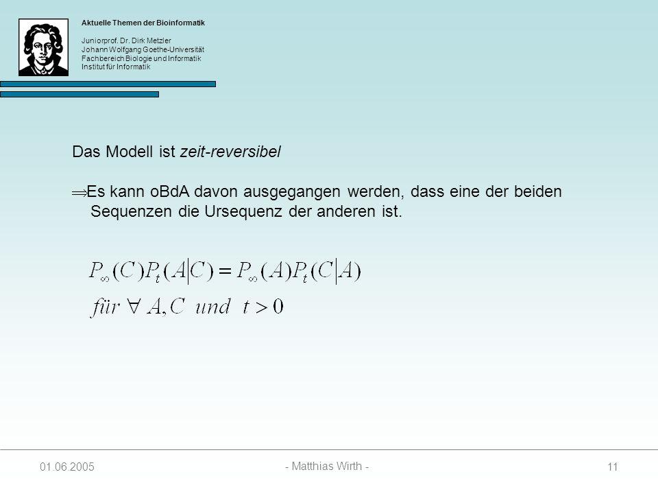 Das Modell ist zeit-reversibel