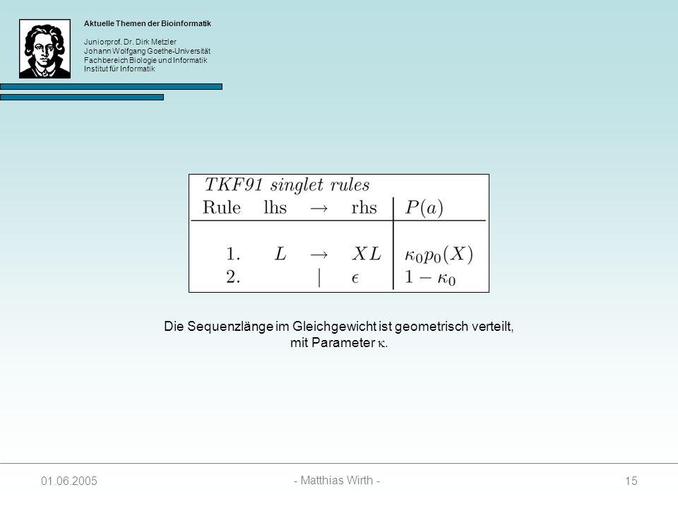 Die Sequenzlänge im Gleichgewicht ist geometrisch verteilt,