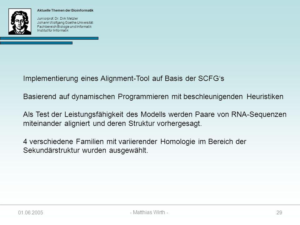 Implementierung eines Alignment-Tool auf Basis der SCFG's