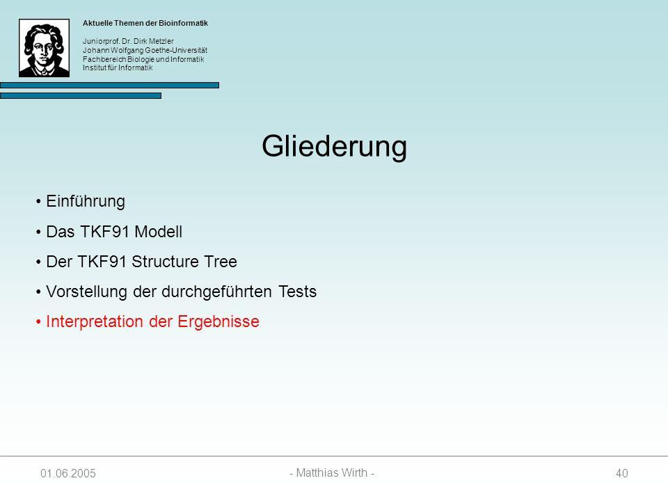 Gliederung Einführung Das TKF91 Modell Der TKF91 Structure Tree