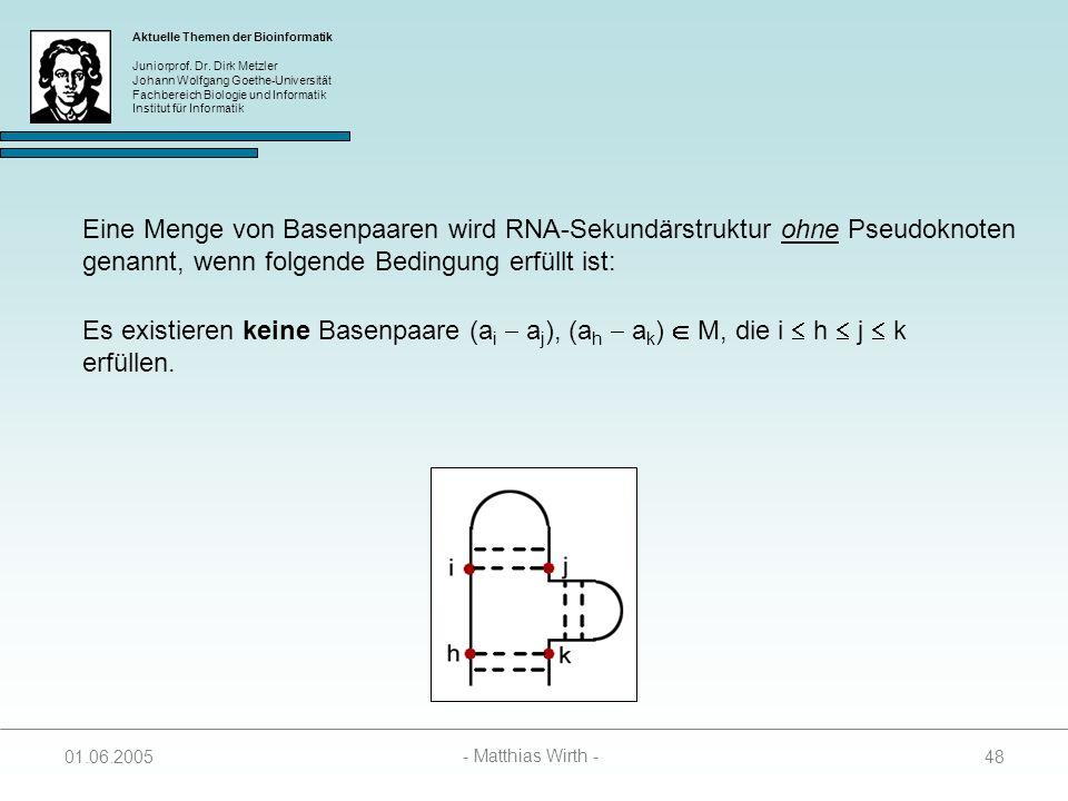 Eine Menge von Basenpaaren wird RNA-Sekundärstruktur ohne Pseudoknoten