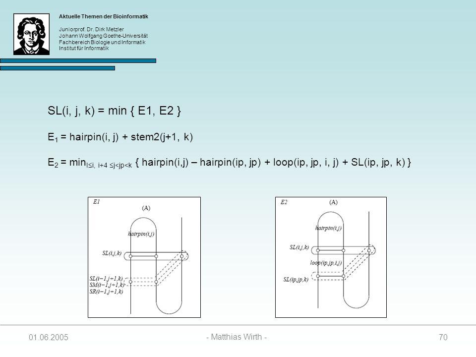 SL(i, j, k) = min { E1, E2 } E1 = hairpin(i, j) + stem2(j+1, k)