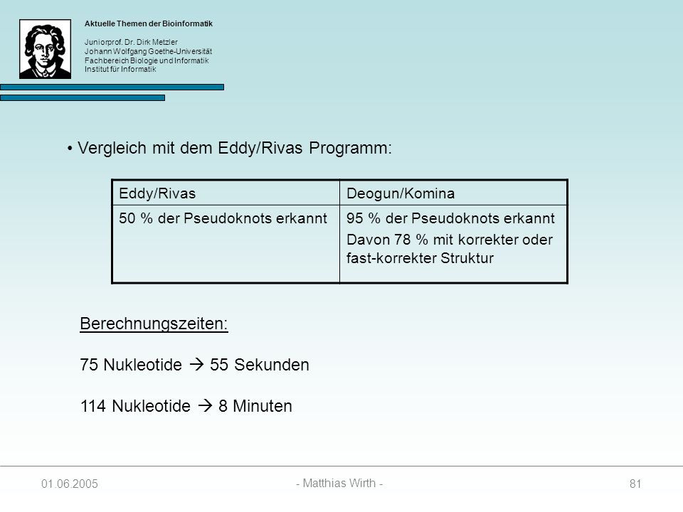 Vergleich mit dem Eddy/Rivas Programm: