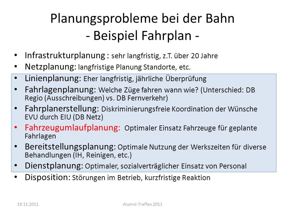 Planungsprobleme bei der Bahn - Beispiel Fahrplan -
