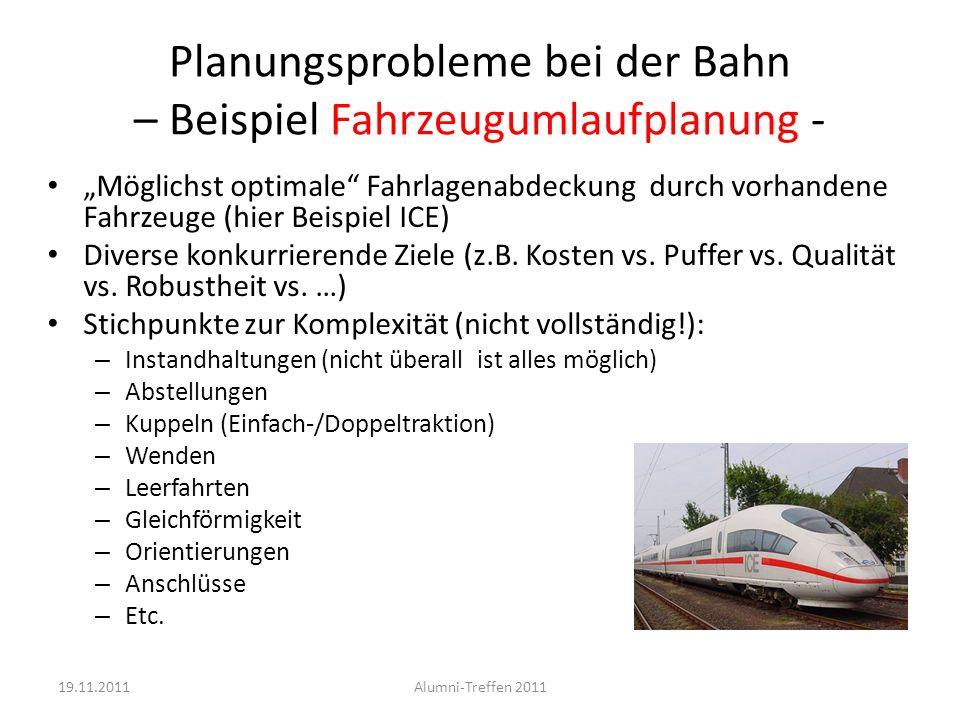 Planungsprobleme bei der Bahn – Beispiel Fahrzeugumlaufplanung -