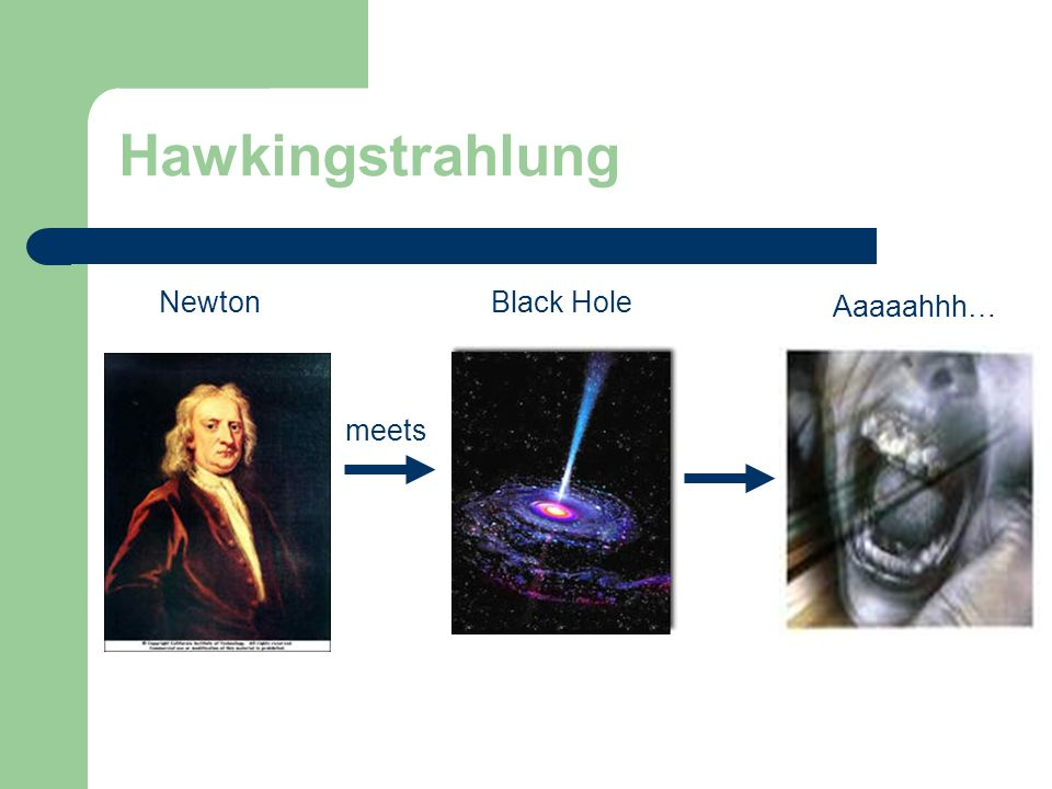 Hawkingstrahlung Newton Black Hole Aaaaahhh… meets