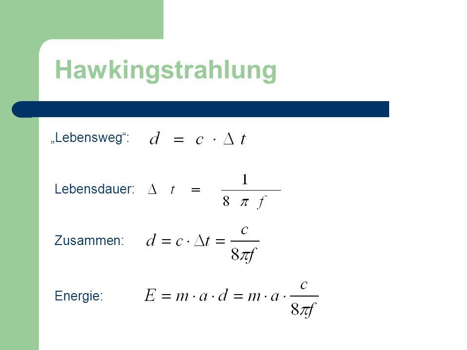 """Hawkingstrahlung """"Lebensweg : Lebensdauer: Zusammen: Energie:"""