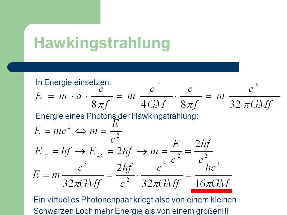 Hawkingstrahlung In Energie einsetzen: