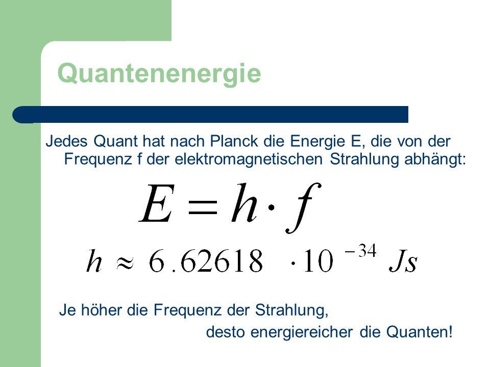 Quantenenergie Jedes Quant hat nach Planck die Energie E, die von der Frequenz f der elektromagnetischen Strahlung abhängt: