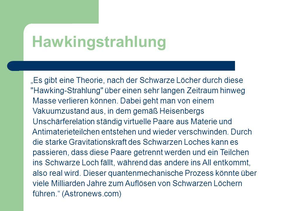 """Hawkingstrahlung """"Es gibt eine Theorie, nach der Schwarze Löcher durch diese. Hawking-Strahlung über einen sehr langen Zeitraum hinweg."""