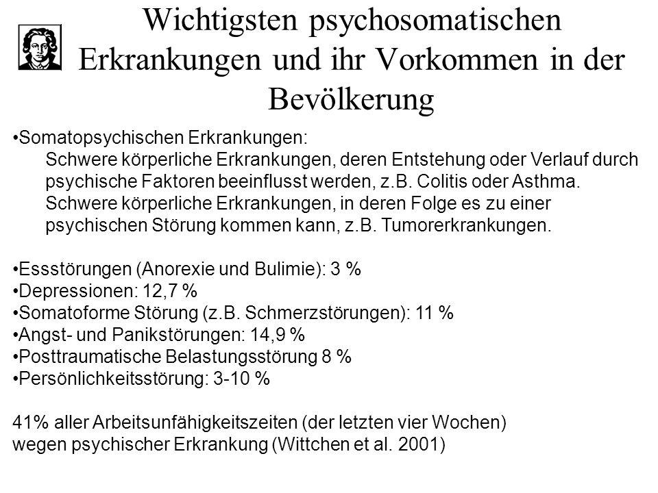Wichtigsten psychosomatischen Erkrankungen und ihr Vorkommen in der Bevölkerung