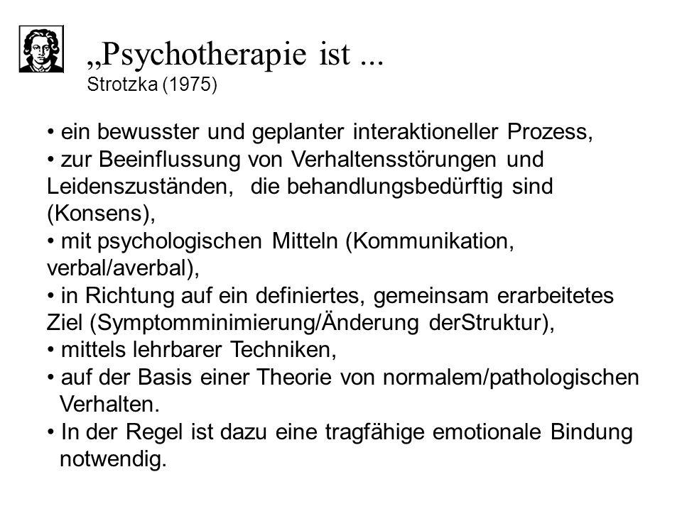 """Psychotherapie ist ... Strotzka (1975)"
