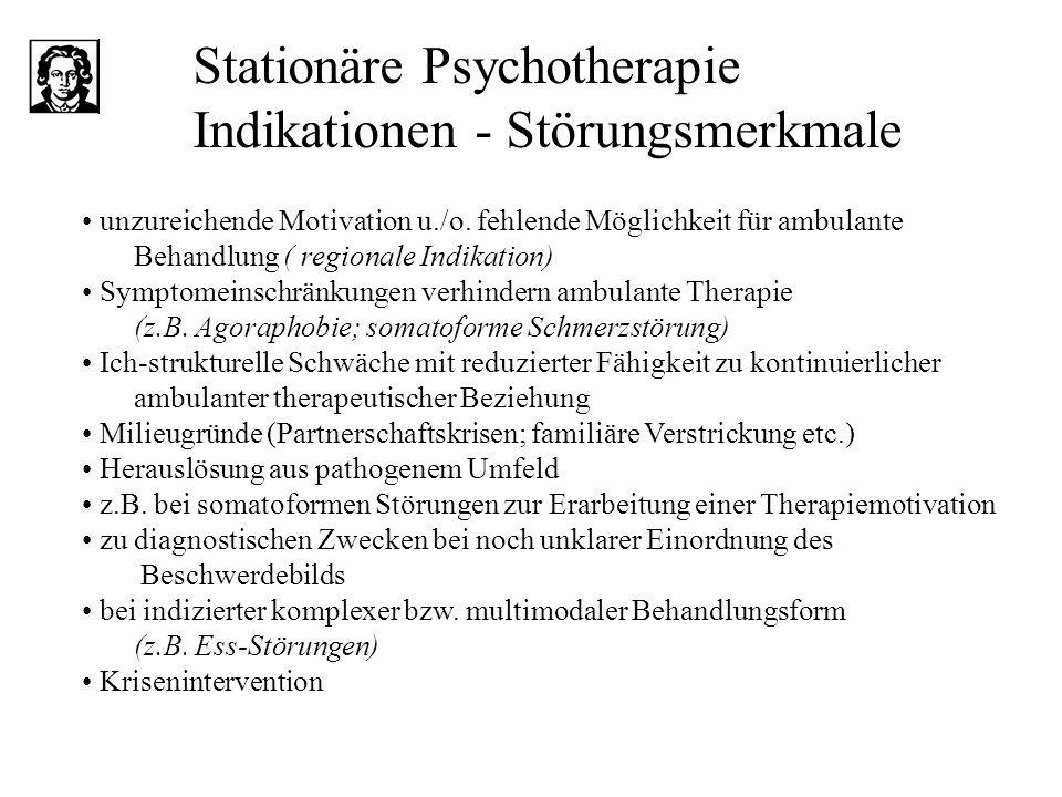 Stationäre Psychotherapie Indikationen - Störungsmerkmale