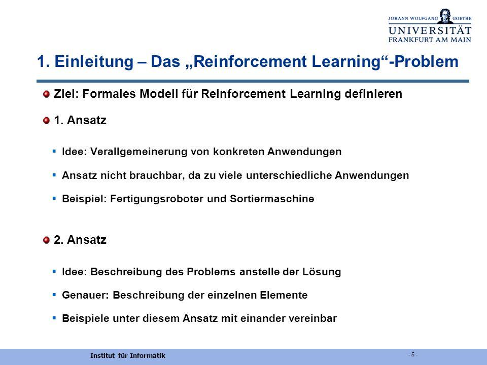 "1. Einleitung – Das ""Reinforcement Learning -Problem"