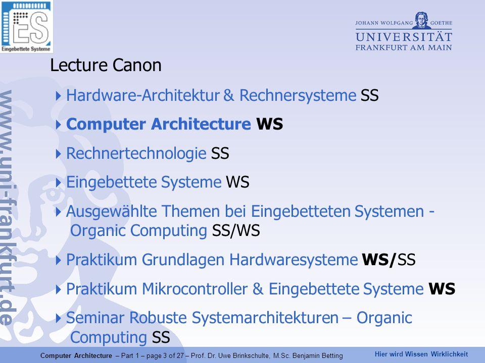 Lecture Canon Hardware-Architektur & Rechnersysteme SS