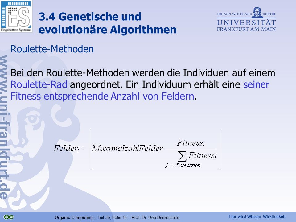 Organic Computing – Teil 3b, Folie 16 - Prof. Dr. Uwe Brinkschulte