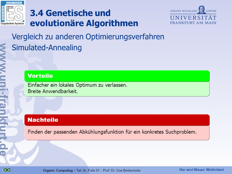 Organic Computing – Teil 3b, Folie 51 - Prof. Dr. Uwe Brinkschulte