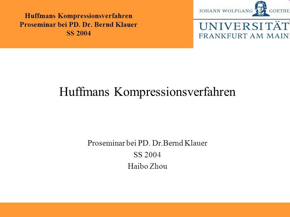 Huffmans Kompressionsverfahren