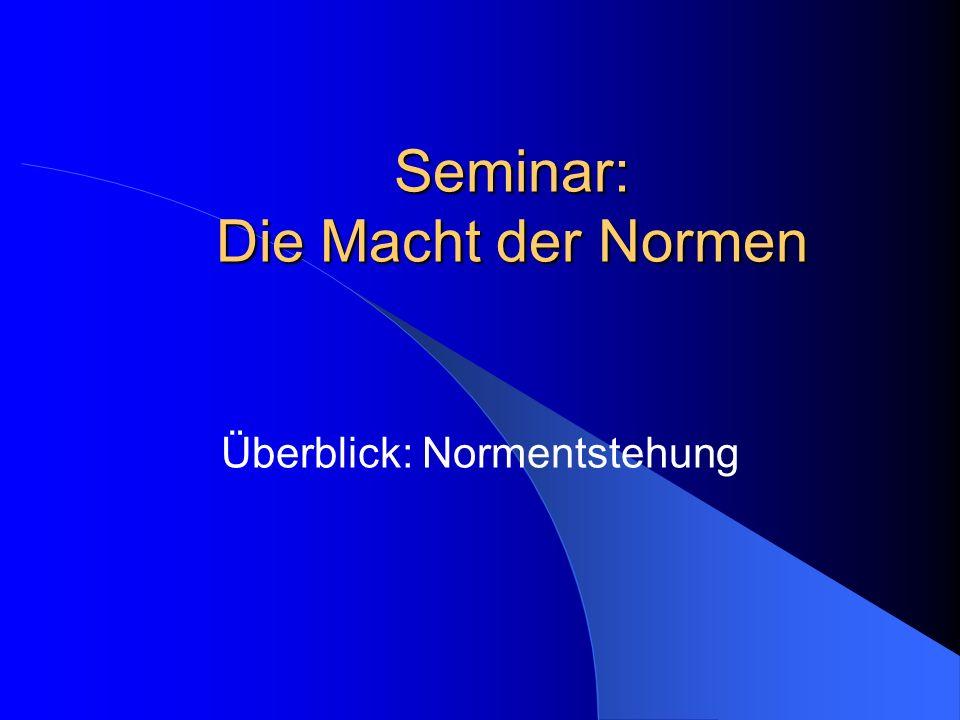 Seminar: Die Macht der Normen