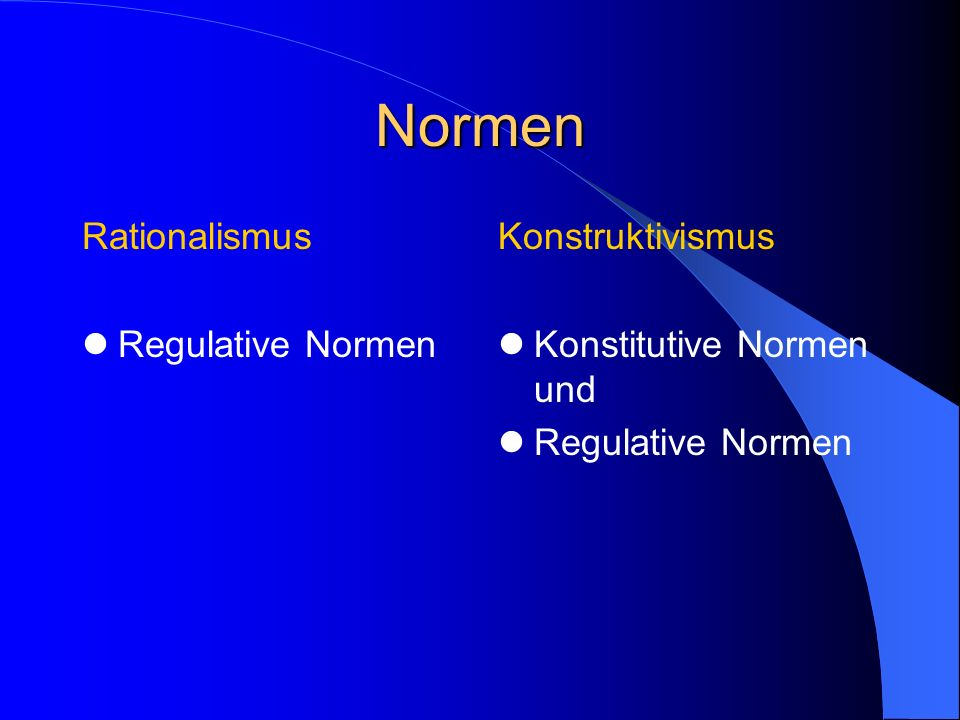 Normen Rationalismus Regulative Normen Konstruktivismus
